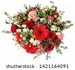 Small photo of Beautiful bouquet of flowers red roses and gerberas hyacinths tulips Red bouquet Bouquet of red roses Big bouquet of roses and tulips Roses and gerberas view overthrow on white background