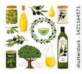 olive symbols vector... | Shutterstock .eps vector #1421164571