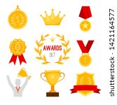 award trophy and medal. simple... | Shutterstock .eps vector #1421164577