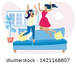 two pretty women having fun at... | Shutterstock .eps vector #1421168807