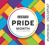 lgbtq pride month circle banner ... | Shutterstock .eps vector #1421169167