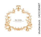 border  frame  label in baroque ... | Shutterstock .eps vector #1421183687