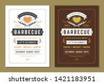 barbecue party vector flyer or... | Shutterstock .eps vector #1421183951
