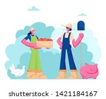 couple of girls farmers in... | Shutterstock .eps vector #1421184167