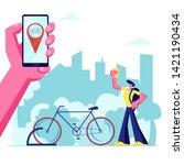 man using smartphone...   Shutterstock .eps vector #1421190434