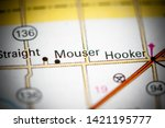 Small photo of Mouser. Oklahoma. USA on a map