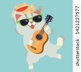 the character of cute cat wear...   Shutterstock .eps vector #1421227577