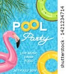 summer pool party poster with... | Shutterstock .eps vector #1421234714