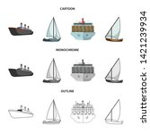 vector design of yacht and ship ... | Shutterstock .eps vector #1421239934