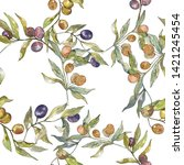 olive branch with black and... | Shutterstock . vector #1421245454