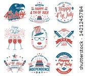 set of vintage 4th of july... | Shutterstock .eps vector #1421245784