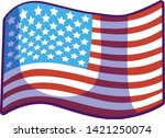 waving cartoon usa flag vector... | Shutterstock .eps vector #1421250074
