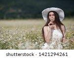 beautiful woman with long...   Shutterstock . vector #1421294261