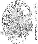 japanese peacock tattoo.asian... | Shutterstock .eps vector #1421312744
