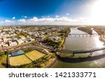 Aerial drone view of central area of Bundaberg, Queensland, Australia
