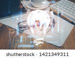 bulb drawing with glasses on... | Shutterstock . vector #1421349311