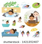 a set of girl about relaxing... | Shutterstock .eps vector #1421352407