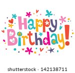 happy birthday text | Shutterstock .eps vector #142138711