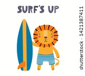 Stock vector hand drawn vector illustration of a cute lion in summer with surfboard lettering quote surfs up 1421387411