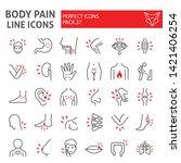 body pain line icon set  organs ... | Shutterstock .eps vector #1421406254
