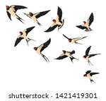 a flock of flying swallows.... | Shutterstock .eps vector #1421419301