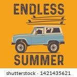 vintage hand drawn surf car.... | Shutterstock .eps vector #1421435621