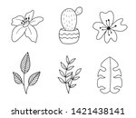 vector set of handdrawn doodle... | Shutterstock .eps vector #1421438141