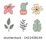 vector set of handdrawn doodle... | Shutterstock .eps vector #1421438144