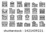 cottage icons set. outline set... | Shutterstock .eps vector #1421439221