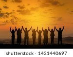 silhouette of happy business... | Shutterstock . vector #1421440697