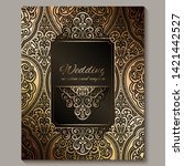 wedding invitation card with... | Shutterstock .eps vector #1421442527