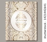 wedding invitation card with... | Shutterstock .eps vector #1421442641