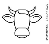 cow head horns icon. outline... | Shutterstock .eps vector #1421444627