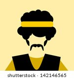 man with afro and yellow... | Shutterstock .eps vector #142146565