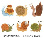 Set Of Cartoon Snails With...