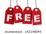 four large red tags with the... | Shutterstock . vector #142148095