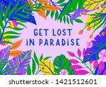 summer vector illustration with ... | Shutterstock .eps vector #1421512601