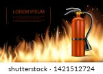 realistic fire and blaze... | Shutterstock .eps vector #1421512724