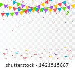 falling confetti with flag...   Shutterstock .eps vector #1421515667