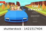 flat car trip summer background ... | Shutterstock .eps vector #1421517404