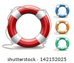 set of life buoys on white... | Shutterstock .eps vector #142152025