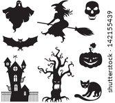 set of silhouette horror images ... | Shutterstock . vector #142155439