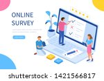 online survey concept with... | Shutterstock .eps vector #1421566817