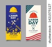 happy labor day engineer cap... | Shutterstock .eps vector #1421575127
