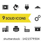 service icons set with factory  ...
