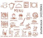 hand drawn restaurant menu...   Shutterstock .eps vector #142158061