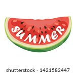 a slice of ripe and juicy...   Shutterstock .eps vector #1421582447