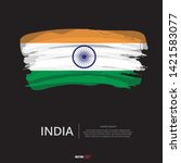 flag of india with  brush... | Shutterstock .eps vector #1421583077