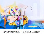 oil painting.abstract colorful... | Shutterstock . vector #1421588804