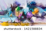 abstract colorful oil painting... | Shutterstock . vector #1421588834